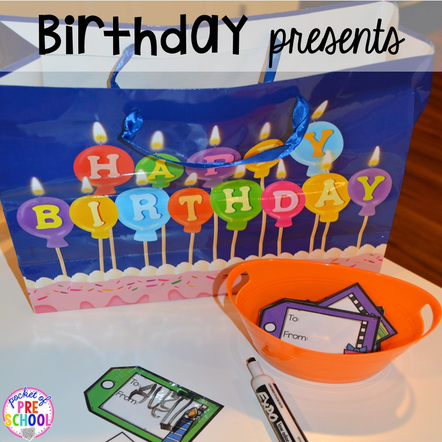 Make gift tags for a Birthday Party dramatic play. Perfect for a preschool & pre-k classroom. #dramaticplay #preschool #pre-k #birthdaytheme