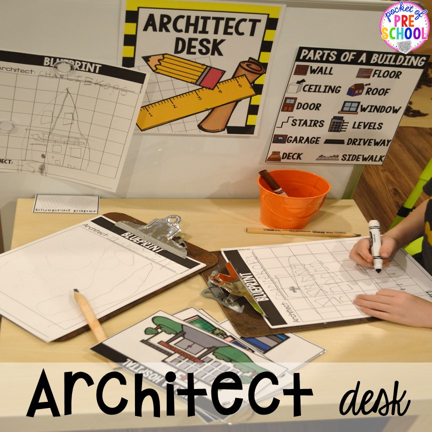 Architect desk at a Construction site dramatic play perfect for preschool, pre-k, and kindergarten. #constructiontheme #preschool #prek #dramaticplay