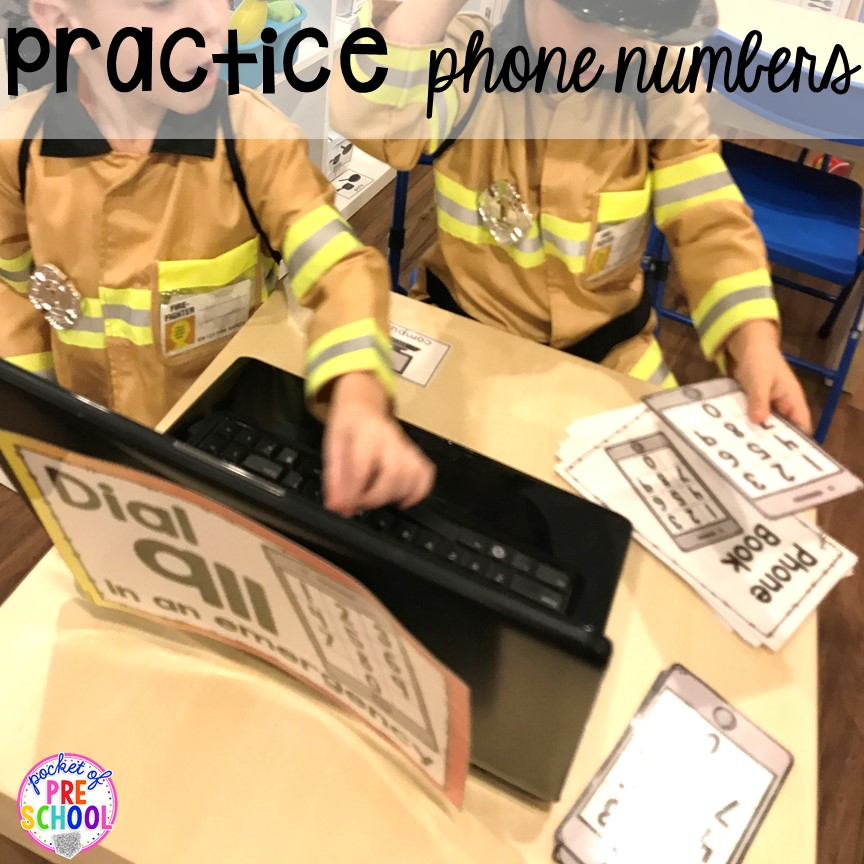 Practice phone numbers at the Fire Station dramatic play! It's so much for a fire safety theme or community helpers theme. #dramaticplay #firestationdramaticplay #preschool #prek #firesafteytheme