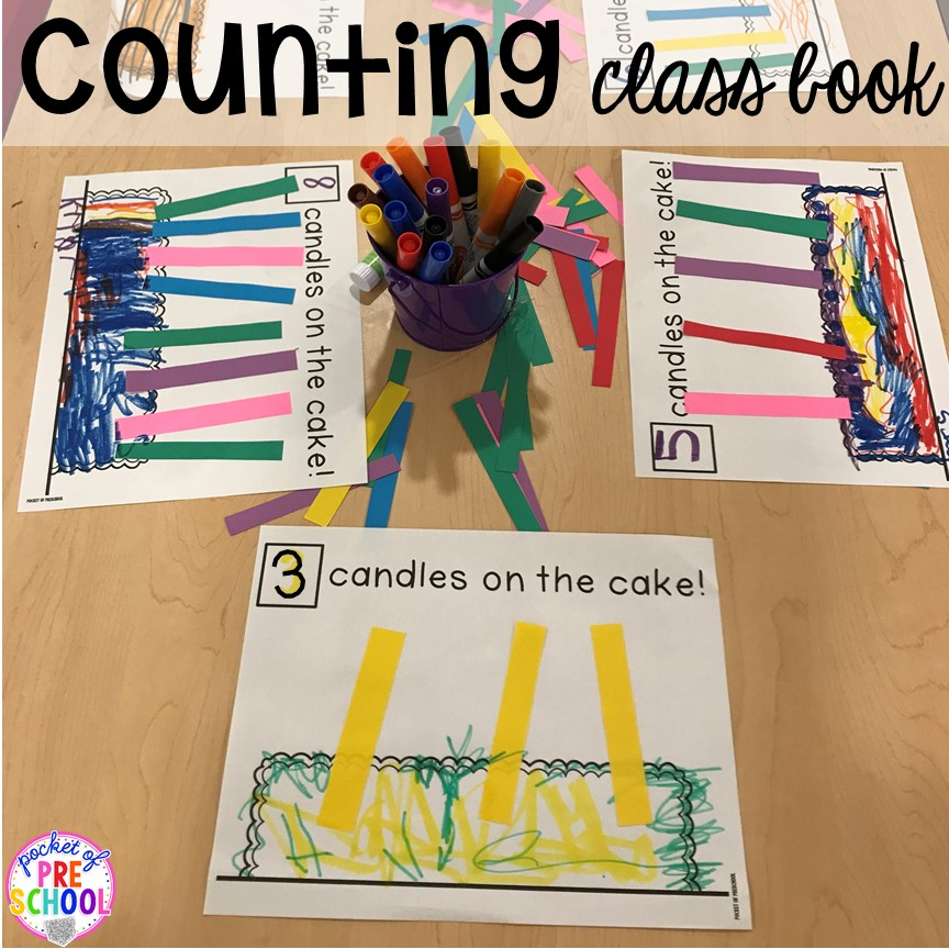 Birthday counting class book! Birthday theme activities and centers preschool, pre-k, and kinder students will LOVE!