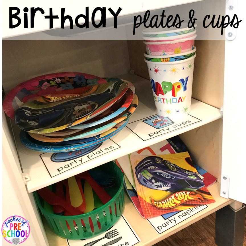 Birthday plates & cups for a Birthday Party in dramatic play. Perfect for a preschool & pre-k classroom. #dramaticplay #preschool #pre-k #birthdaytheme