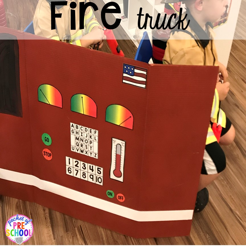 DIY fire truck for the Fire Station dramatic play! It's so much for a fire safety theme or community helpers theme. #dramaticplay #firestationdramaticplay #preschool #prek #firesafteytheme