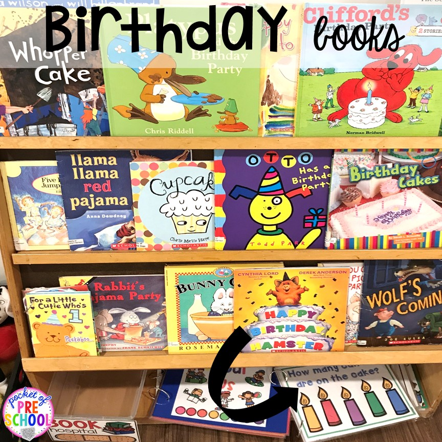Birthday theme books! Birthday theme activities and centers preschool, pre-k, and kinder students will LOVE!