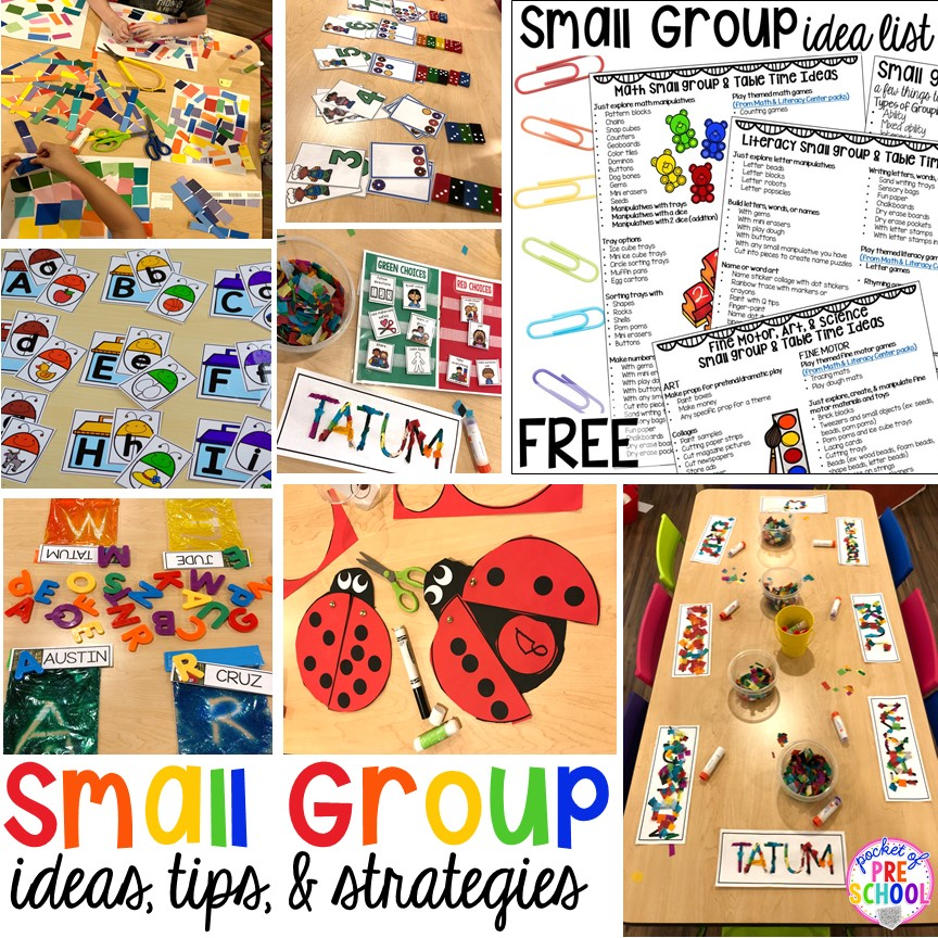 Small group ideas, tip,s and tricks for preschool, pre-k, and kindergarten FREE printable list! #smallgroup #preschool #prek #lessonplans