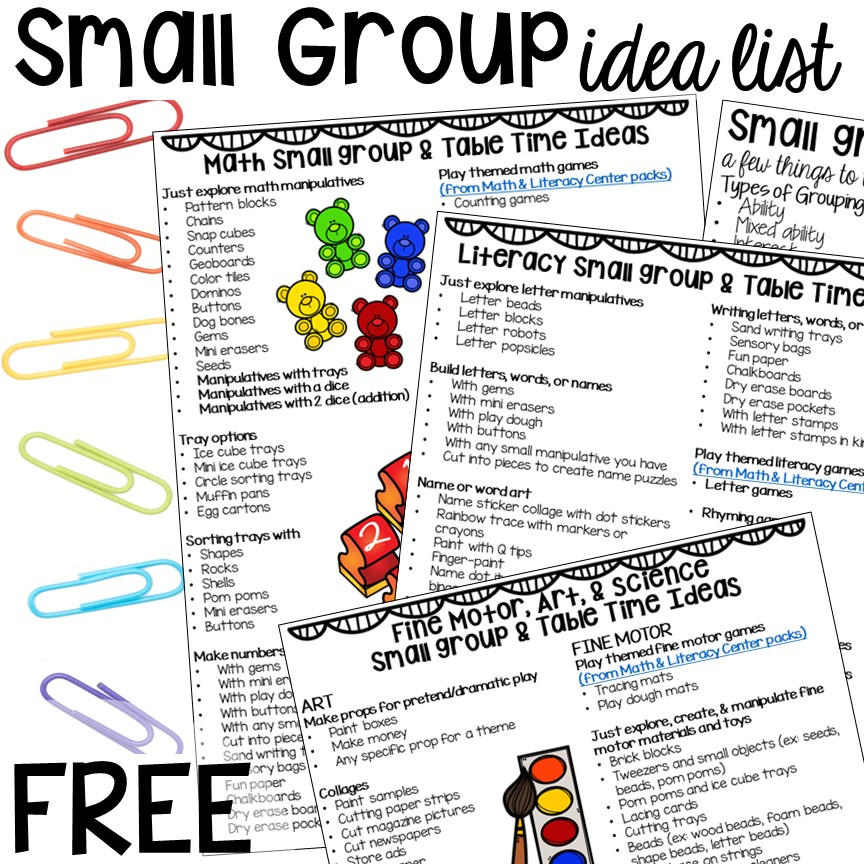 FREEBIE! Small group ideas for preschool, pre-k, and kindergarten FREE printable list! #smallgroup #preschool #prek #lessonplans