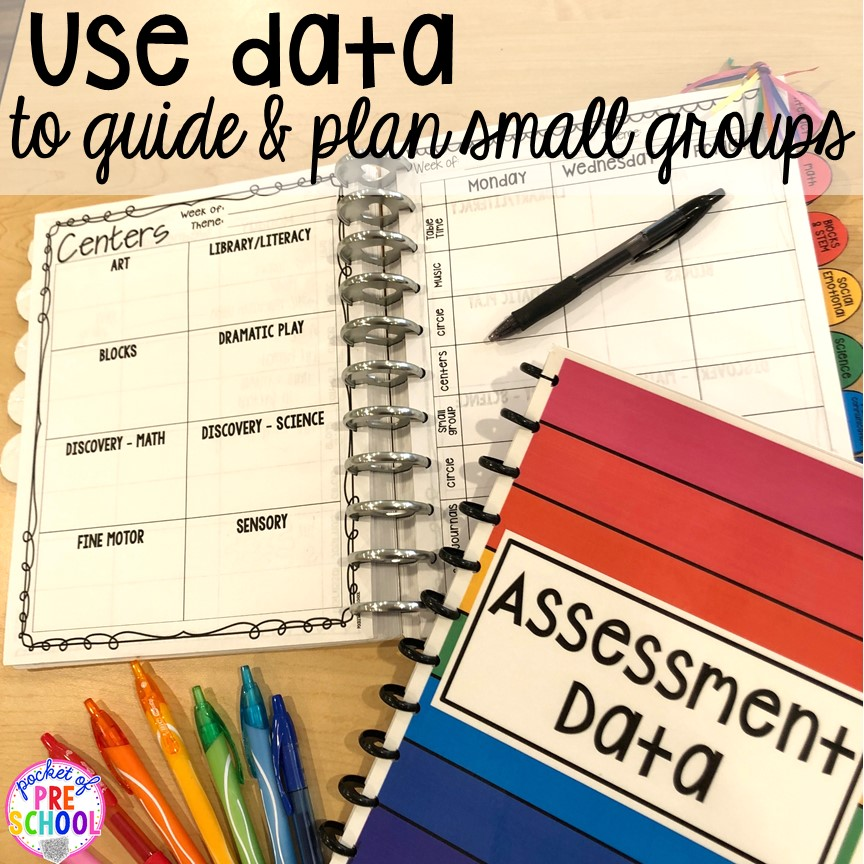 Use data to plan Small group ideas, tip,s and tricks for preschool, pre-k, and kindergarten FREE printable list! #smallgroup #preschool #prek #lessonplans