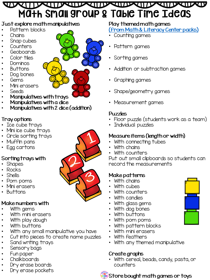 Small group ideas for preschool, pre-k, and kindergarten FREE printable list!