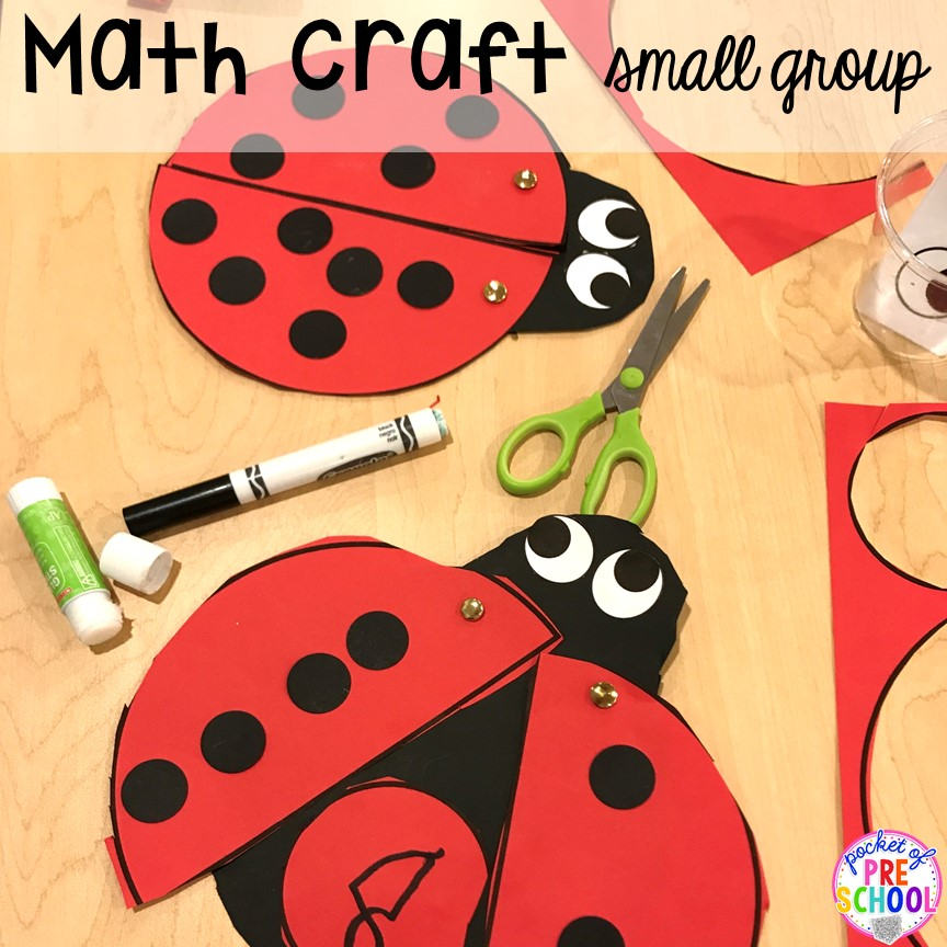 Math craft for small group. Small group ideas, tip,s and tricks for preschool, pre-k, and kindergarten FREE printable list! #smallgroup #preschool #prek #lessonplans