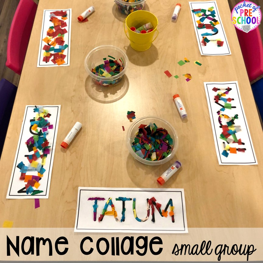 Name collage small group. Small group ideas, tip,s and tricks for preschool, pre-k, and kindergarten FREE printable list! #smallgroup #preschool #prek #lessonplans