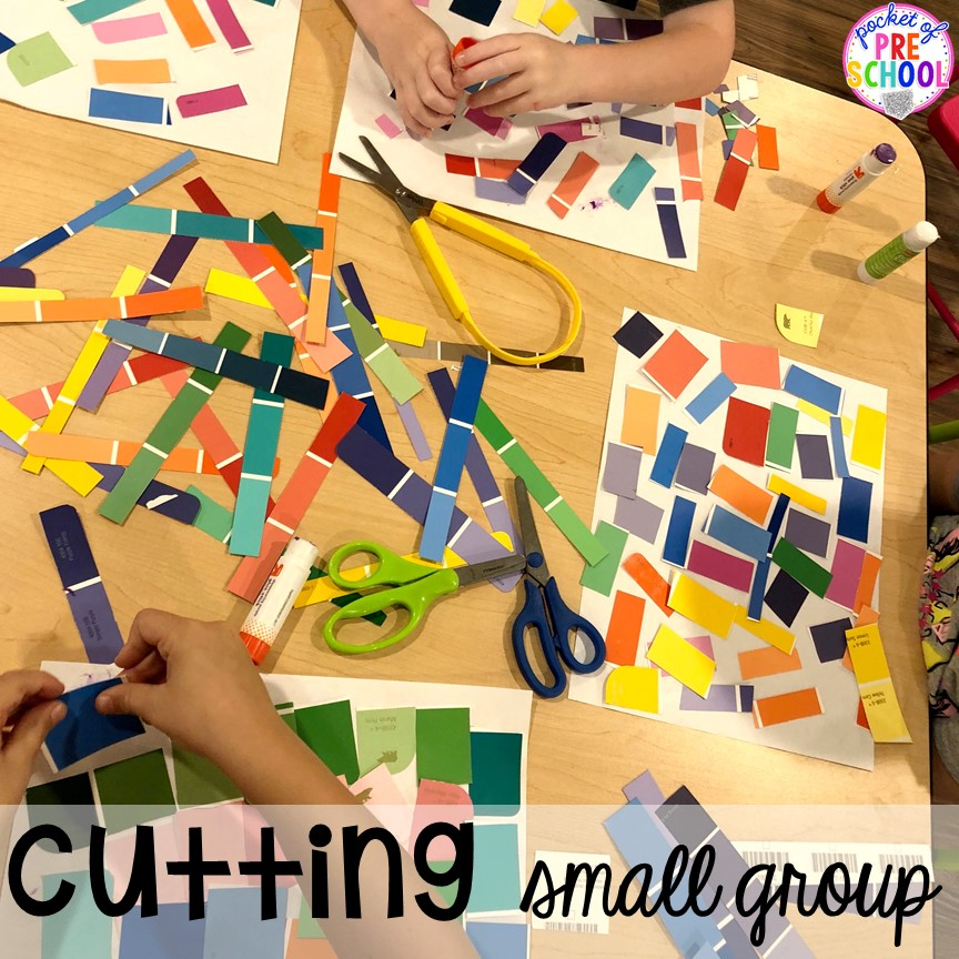 Cutting small group! Small group ideas for preschool, pre-k, and kindergarten FREE printable list! #smallgroup #preschool #prek #lessonplans