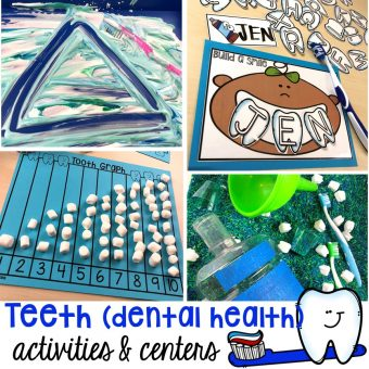 Dental health themed activities and centers for preschool, pre-k, and kindergarten (FREEBIES too) #dentalhealththeme #preschool #pre-k #tooththeme