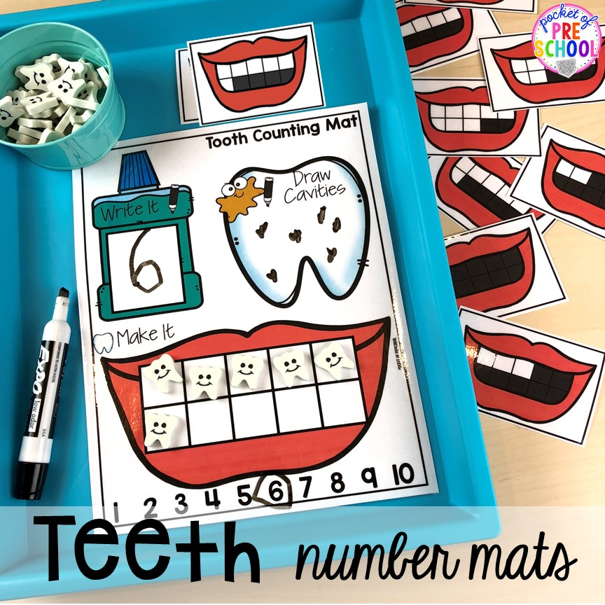 Teeth number mats! Dental health themed activities and centers for preschool, pre-k, and kindergarten (FREEBIES too) #dentalhealththeme #preschool #pre-k #tooththeme