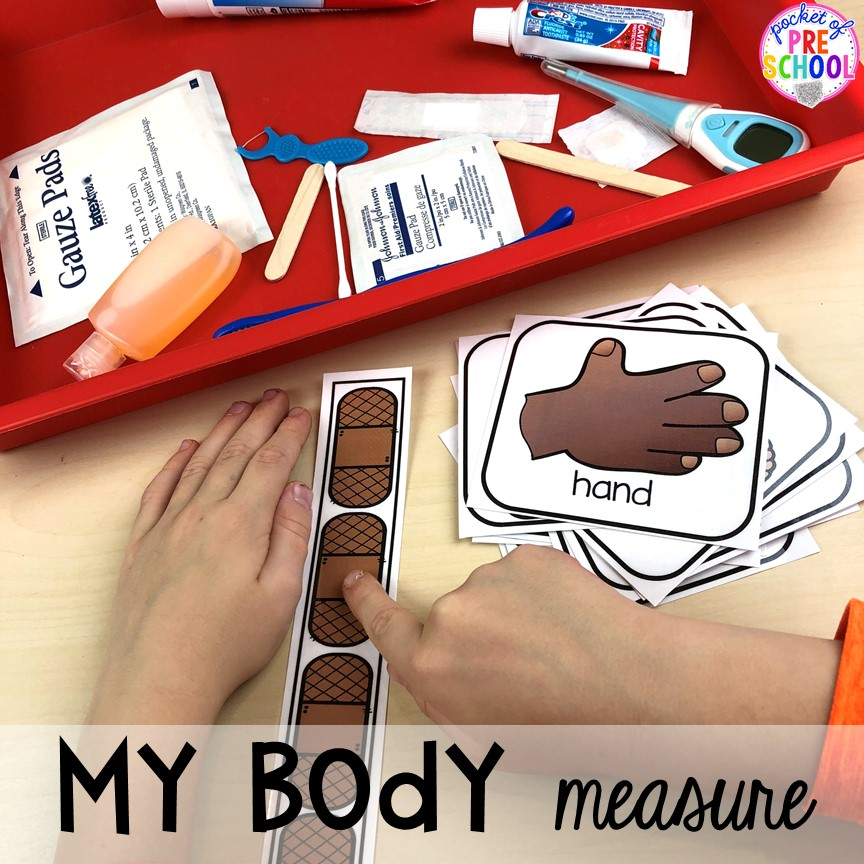 My body measurement activity! My Body themed centers and activities FREEBIES too! Preschool, pre-k, and kindergarten kiddos will love these centers.