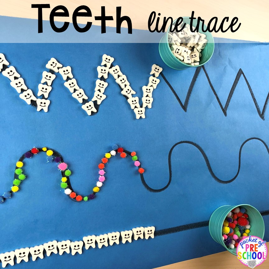 Tooth and cavity line trace! Dental health themed activities and centers for preschool, pre-k, and kindergarten (FREEBIES too) #dentalhealththeme #preschool #pre-k #tooththeme
