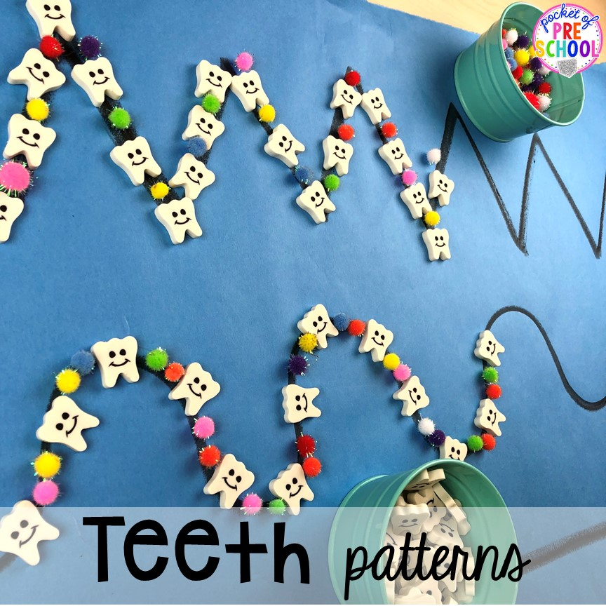 Teeth and cavity patterns! Dental health themed activities and centers for preschool, pre-k, and kindergarten (FREEBIES too) #dentalhealththeme #preschool #pre-k #tooththeme
