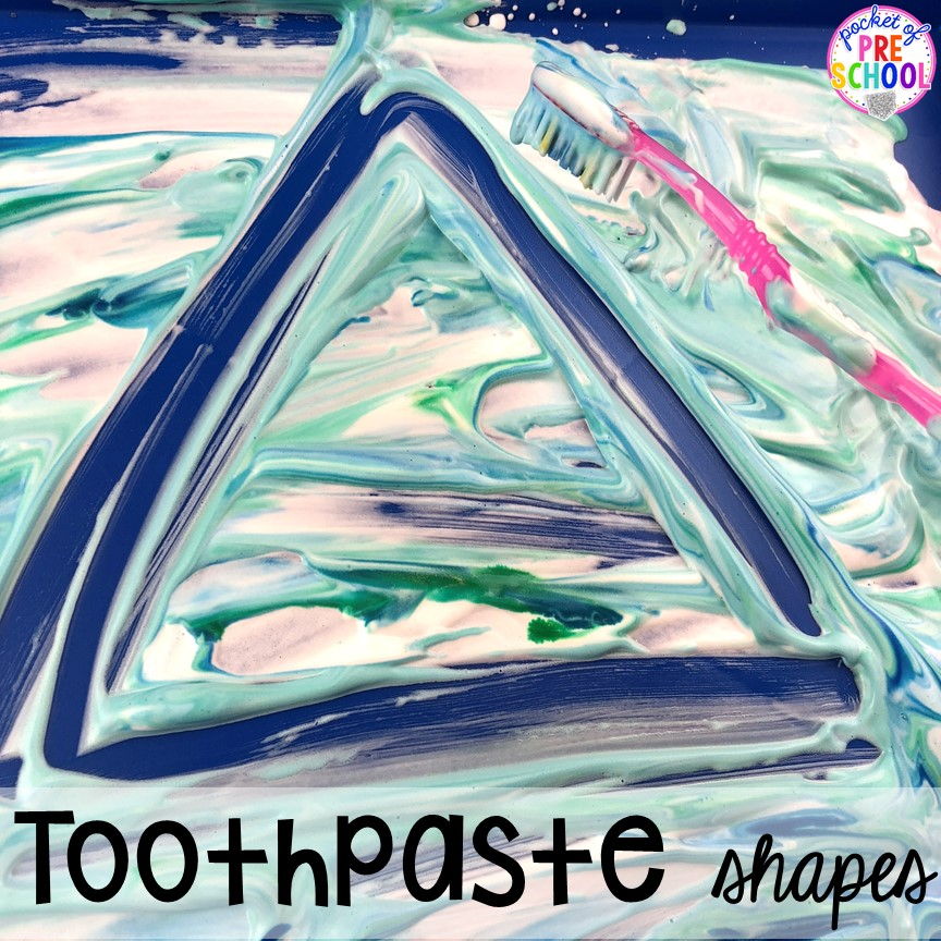 Toothpaste shapes! Dental health themed activities and centers for preschool, pre-k, and kindergarten (FREEBIES too) #dentalhealththeme #preschool #pre-k #tooththeme