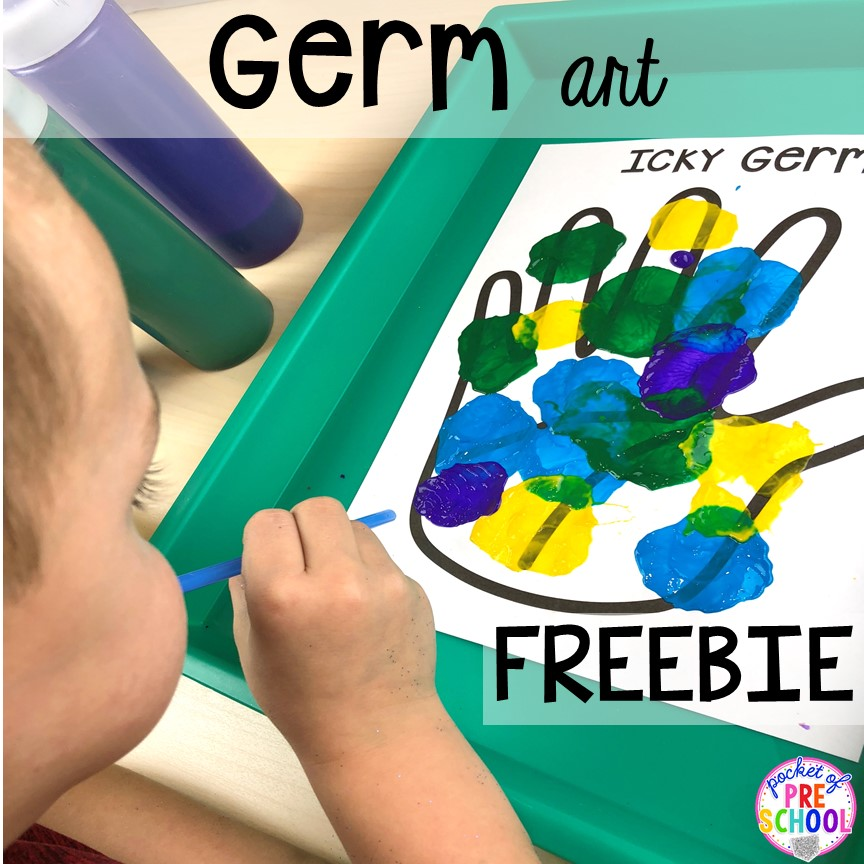 Germ blowing art FREEBIE! My Body themed centers and activities FREEBIES too! Preschool, pre-k, and kindergarten kiddos will love these centers.