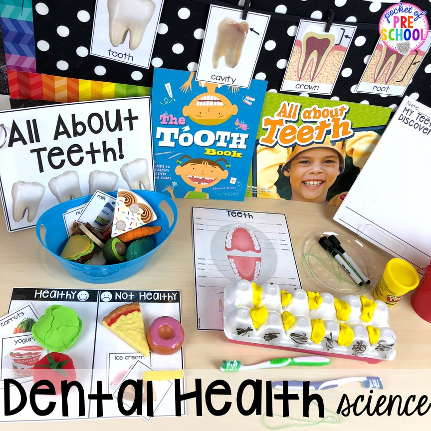 Dental health science table! Dental health themed activities and centers for preschool, pre-k, and kindergarten (FREEBIES too) #dentalhealththeme #preschool #pre-k #tooththeme