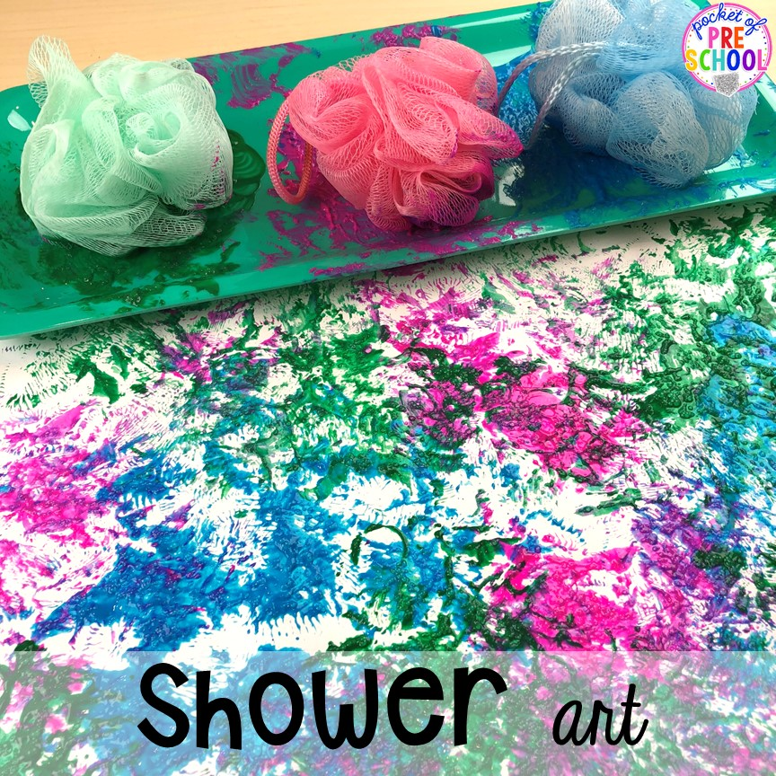 Shower art! My Body themed centers and activities FREEBIES too! Preschool, pre-k, and kindergarten kiddos will love these centers.