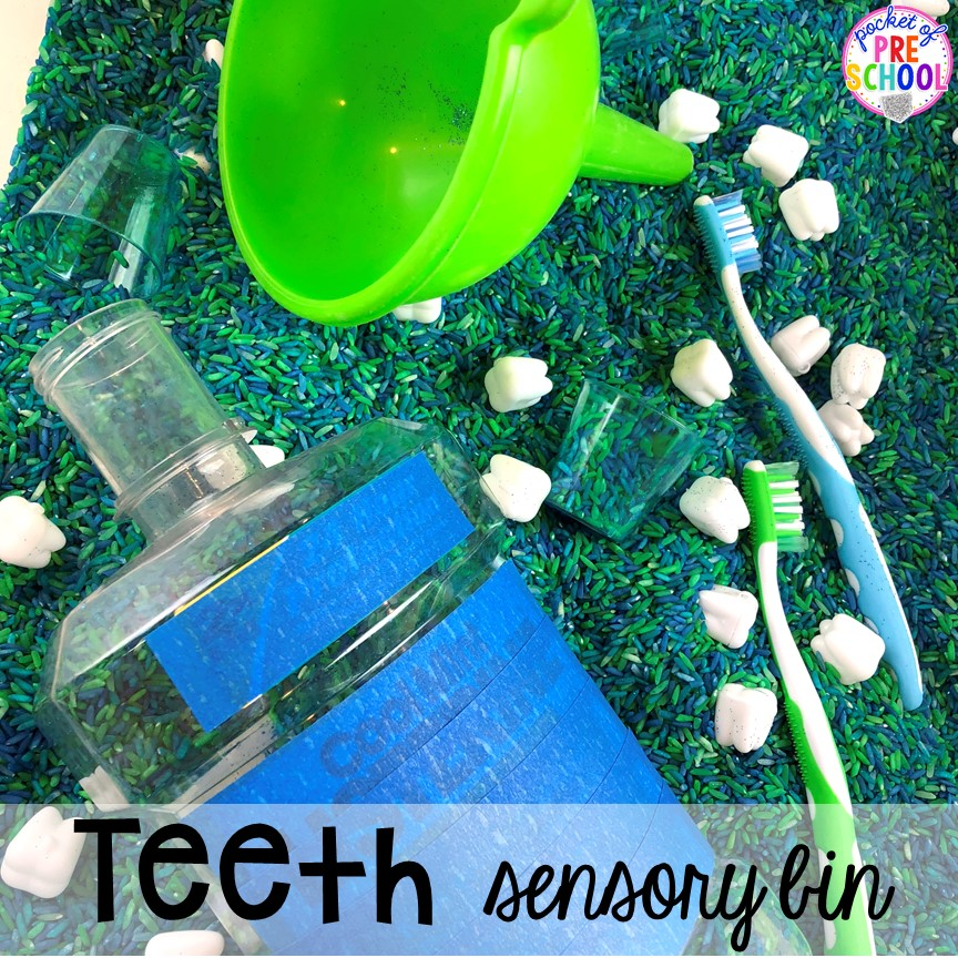Teeth Sensory Table! Dental health themed activities and centers for preschool, pre-k, and kindergarten (FREEBIES too) #dentalhealththeme #preschool #pre-k #tooththeme