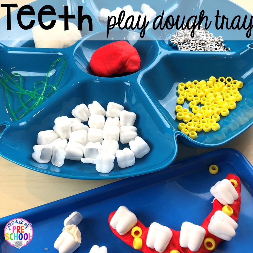 Teeth play dough tray! Dental health themed activities and centers for preschool, pre-k, and kindergarten (FREEBIES too) #dentalhealththeme #preschool #pre-k #tooththeme