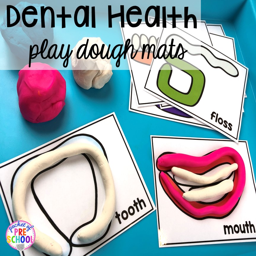 Dental Health play dough mats! Dental health themed activities and centers for preschool, pre-k, and kindergarten (FREEBIES too) #dentalhealththeme #preschool #pre-k #tooththeme