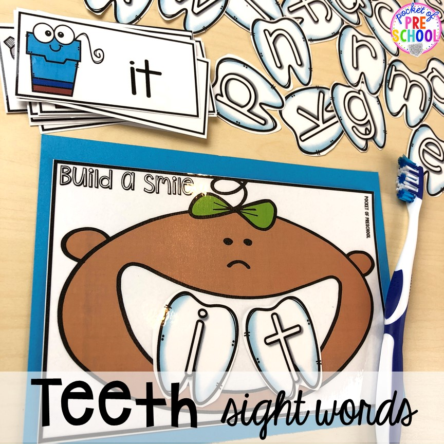 Tooth sight words! Dental health themed activities and centers for preschool, pre-k, and kindergarten (FREEBIES too) #dentalhealththeme #preschool #pre-k #tooththeme