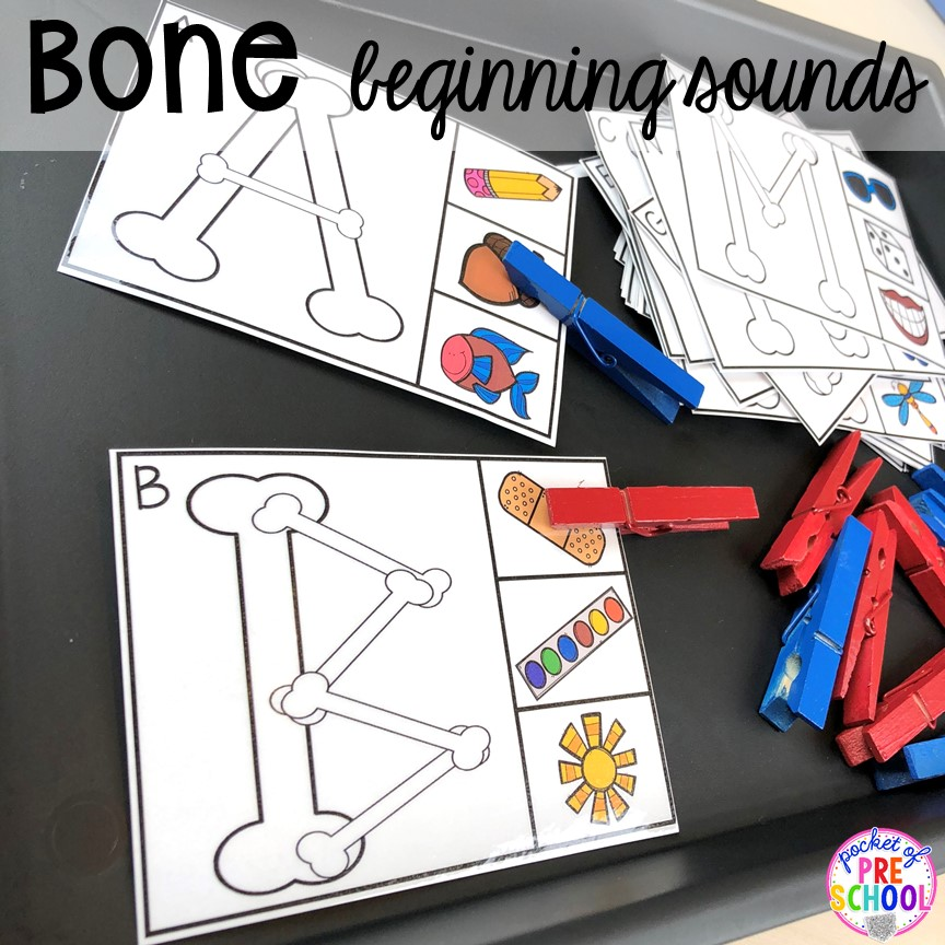 Bone beginning sound cards! My Body and Health centers and activities FREEBIES too! Preschool, pre-k, and kindergarten kiddos will love these centers.
