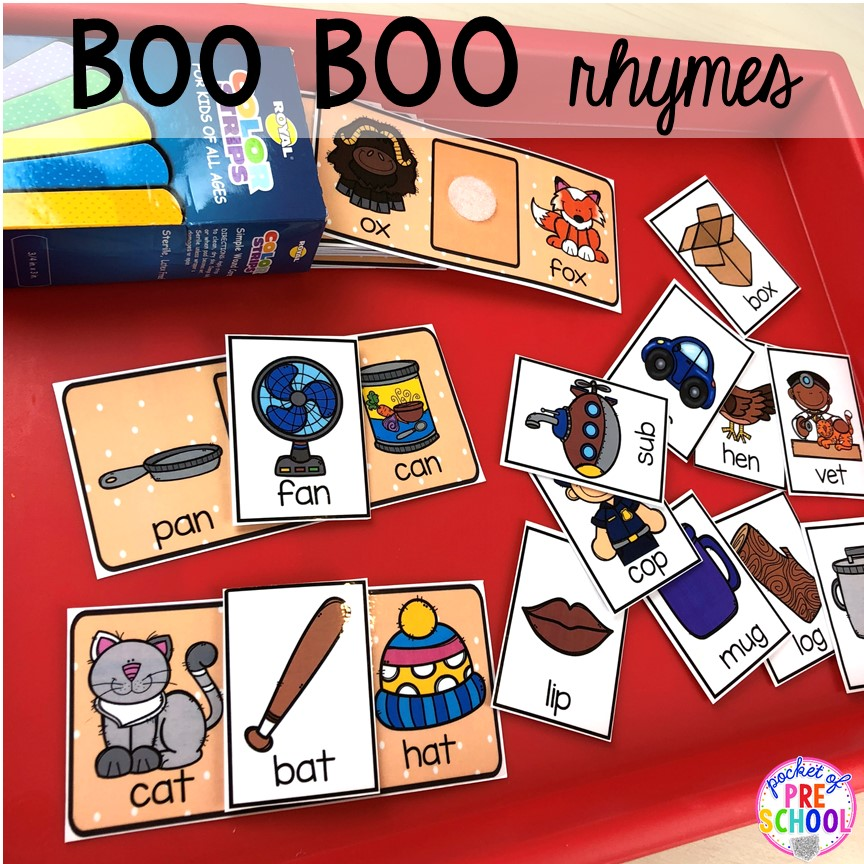 Boo Boo rhymes! My Body themed centers and activities FREEBIES too! Preschool, pre-k, and kindergarten kiddos will love these centers.