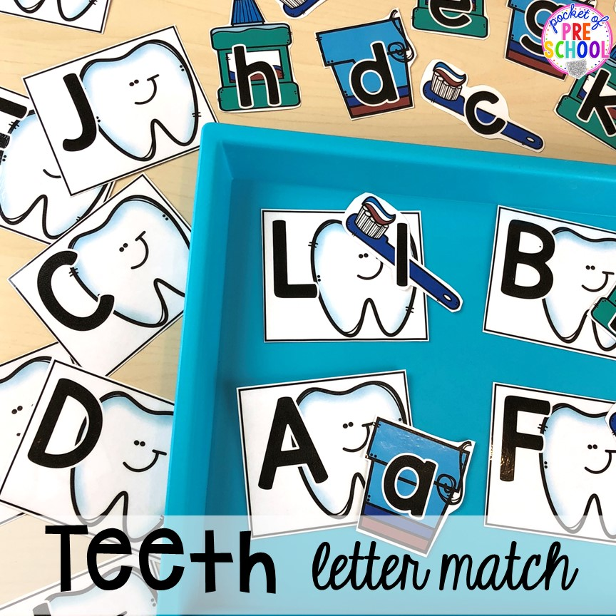 Tooth letter game! Dental health themed activities and centers for preschool, pre-k, and kindergarten (FREEBIES too) #dentalhealththeme #preschool #pre-k #tooththeme