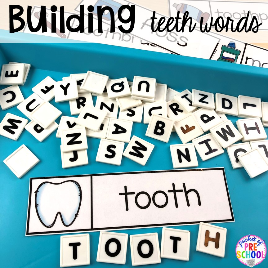 Tooth word work! Dental health themed activities and centers for preschool, pre-k, and kindergarten (FREEBIES too) #dentalhealththeme #preschool #pre-k #tooththeme