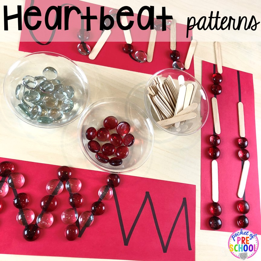 Heartbeat patters for a my body theme! My Body themed centers and activities FREEBIES too! Preschool, pre-k, and kindergarten kiddos will love these centers.