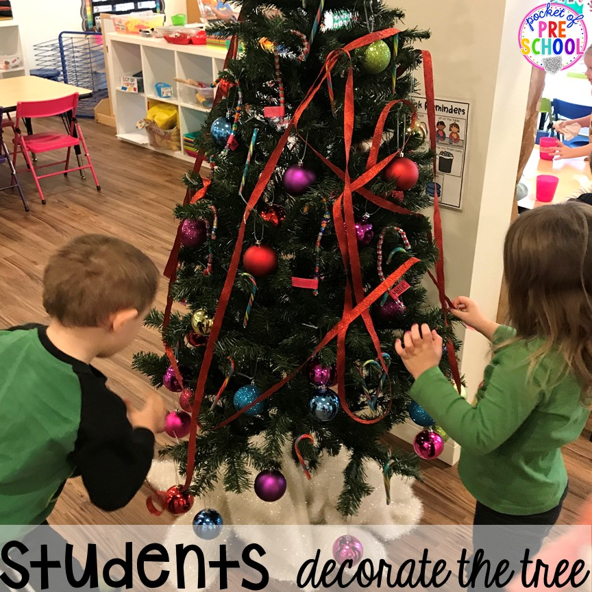 Kid decorated tree hack! Holiday hacks for the classroom (preschool, pre-k, kindergarten and elementary) to make the holidays less stressful in the classroom. #holidayhacks #teacherhack #preschool #prek