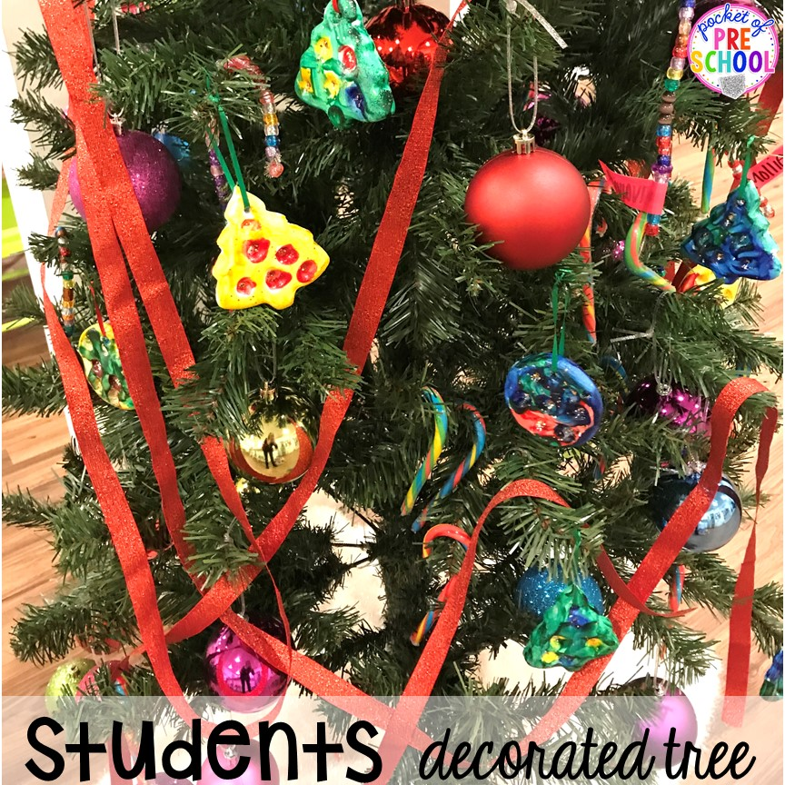 Student decorated tree hack! Holiday hacks for the classroom (preschool, pre-k, kindergarten and elementary) to make the holidays less stressful in the classroom. #holidayhacks #teacherhack #preschool #prek