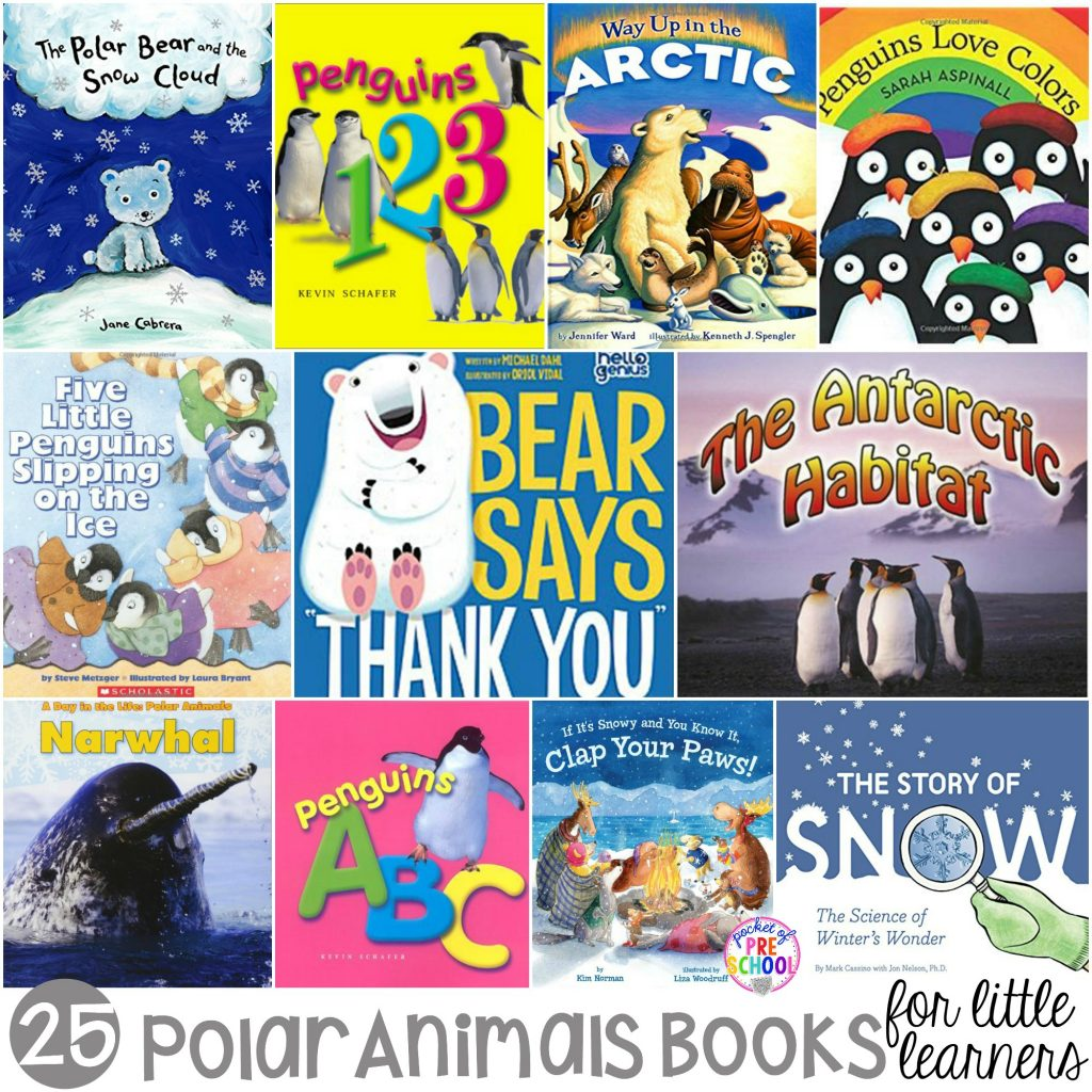 Giant polar animal book list for little learners (preschool, pre-k, and kindergarten) #polaranimaltheme #booklist #preschool