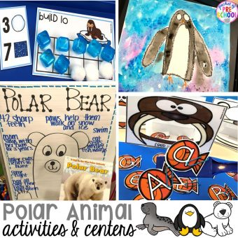 Polar animal themed activities and centers for preschool, pre-k, and kindergarten. #polaranimals #polaranimaltheme #preschool #prek