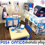 How to set up a Post Office in the dramatic play or pretend center and embed a ton of math and literacy experiences into their play! Perfect for preschool, pre-k, and kindergarten classrooms.