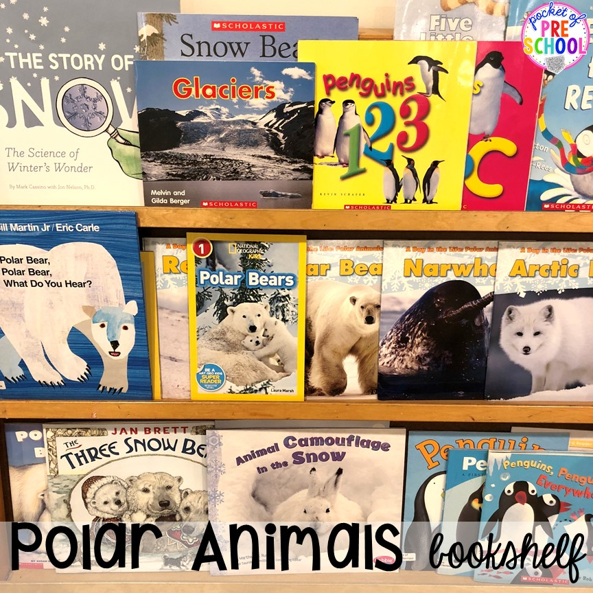 Polar Animal books! Polar animal themed activities and centers for preschool, pre-k, and kindergarten. #polaranimals #polaranimaltheme #preschool #prek
