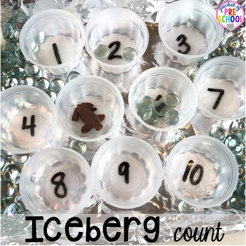 Iceberg count math game! Polar animal themed activities and centers for preschool, pre-k, and kindergarten. #polaranimals #polaranimaltheme #preschool #prek