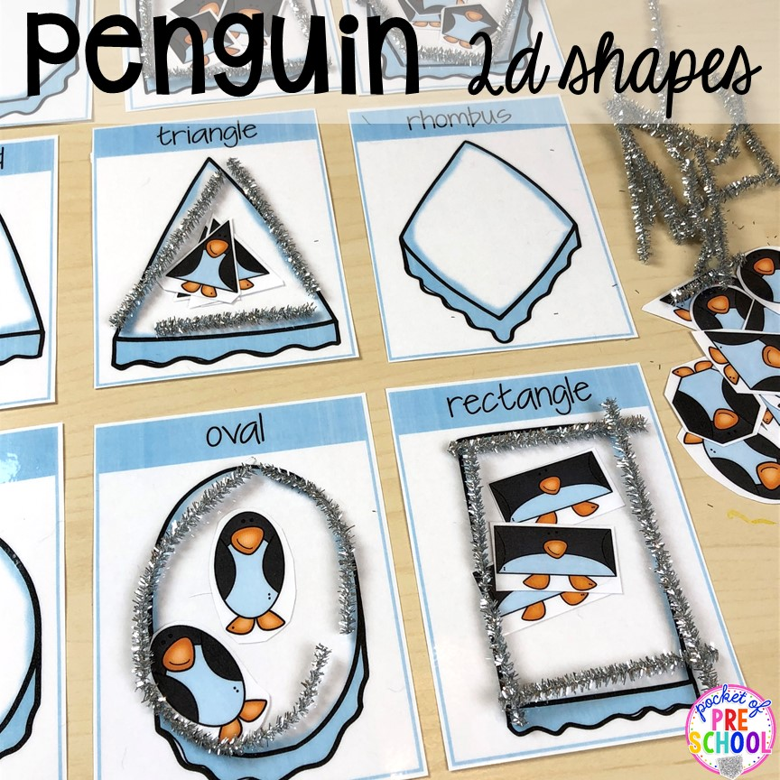 Penguin shape game! Polar animal themed activities and centers for preschool, pre-k, and kindergarten. #polaranimals #polaranimaltheme #preschool #prek