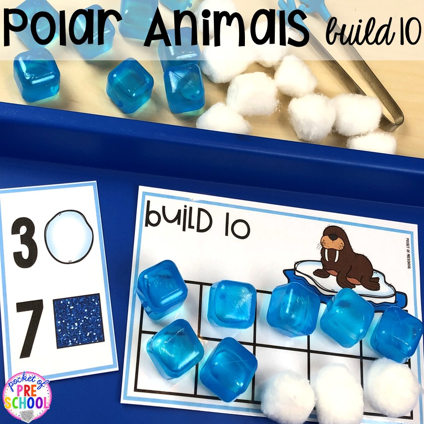 Polar animals build ten math game! Polar animal themed activities and centers for preschool, pre-k, and kindergarten. #polaranimals #polaranimaltheme #preschool #prek