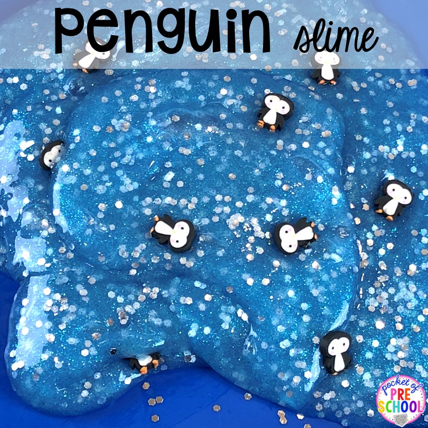 Penguin slime! Polar animal themed activities and centers for preschool, pre-k, and kindergarten. #polaranimals #polaranimaltheme #preschool #prek