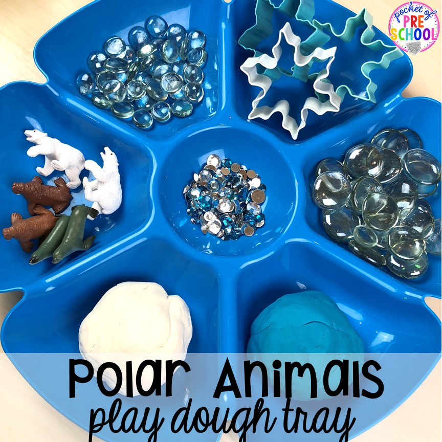 Polar animals play dough tray! Polar animal themed activities and centers for preschool, pre-k, and kindergarten. #polaranimals #polaranimaltheme #preschool #prek