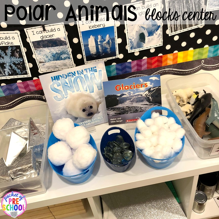 Polar animal theme blocks center and STEM! Polar animal themed activities and centers for preschool, pre-k, and kindergarten. #polaranimals #polaranimaltheme #preschool #prek