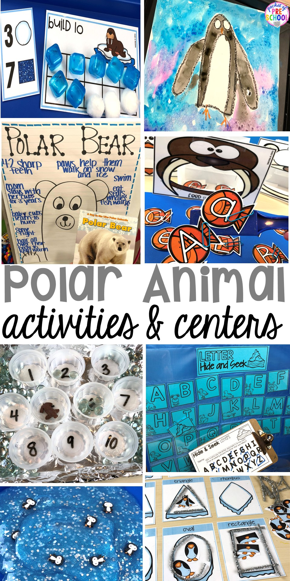 Polar animal themed activities and centers for preschool, pre-k, and kindergarten. Penguin directed drawing FREEBIE! #polaranimals #polaranimaltheme #preschool #prek