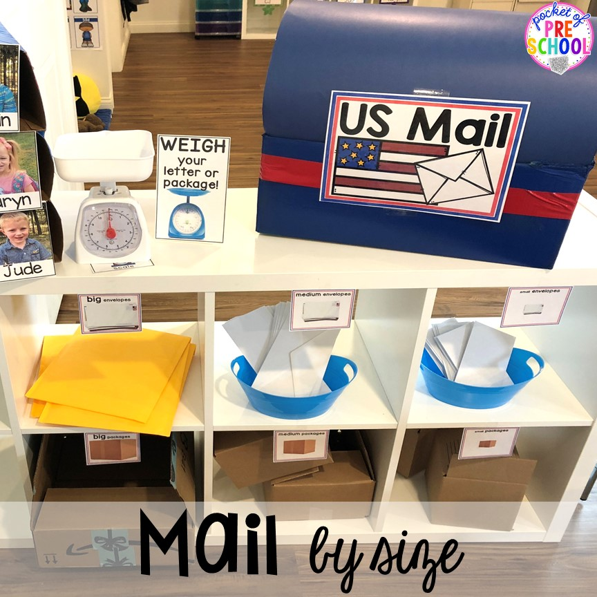 How to set up a Post Office in the dramatic play or pretend center. Perfect for a preschool, pre-k, or kindergarten classroom.