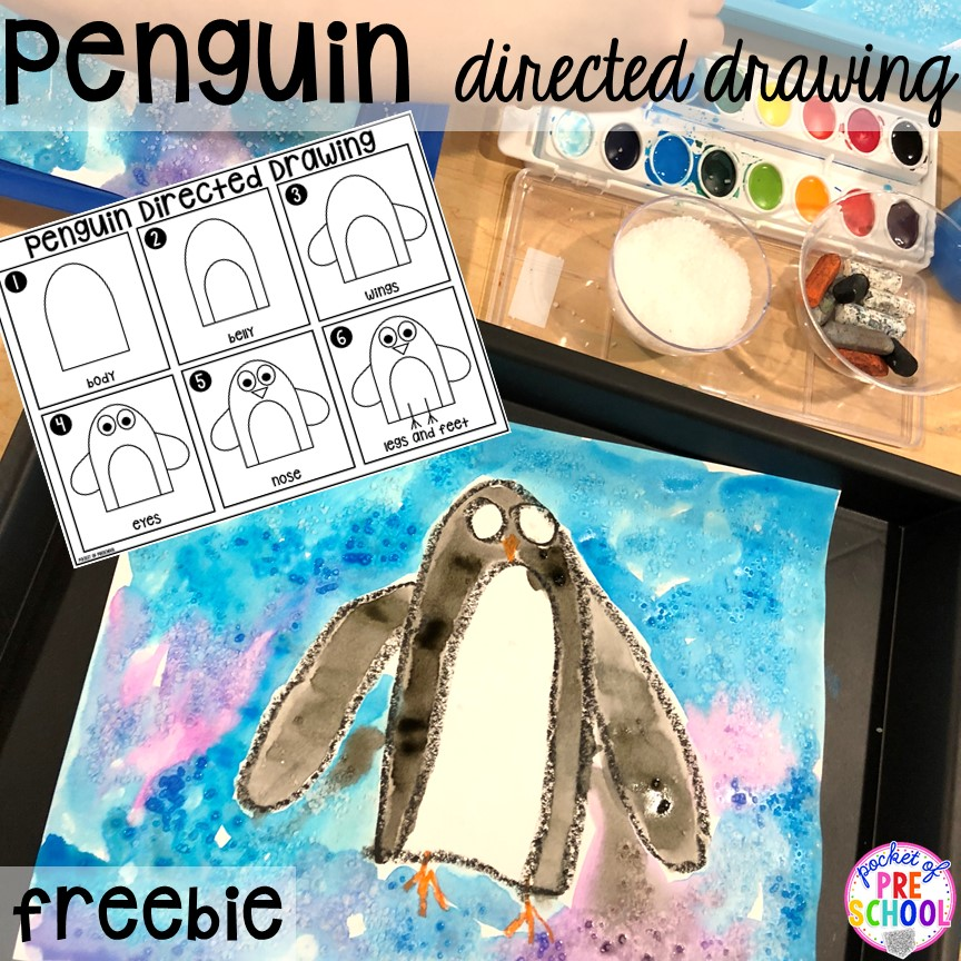 Free penguin directed drawing directions! Polar animal themed activities and centers for preschool, pre-k, and kindergarten. #polaranimals #polaranimaltheme #preschool #prek