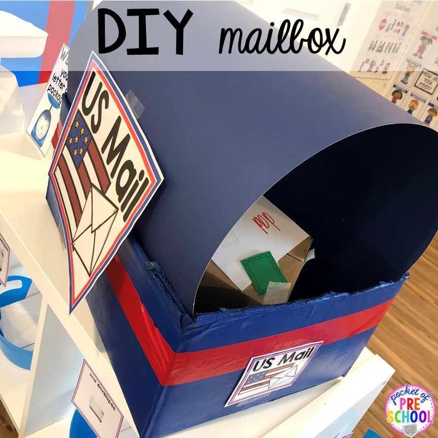 DIY post office mailbox! How to set up a Post Office in the dramatic play or pretend center. Perfect for a preschool, pre-k, or kindergarten classroom.