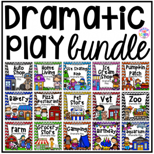 Dramatic Play Bundle for preschool, pre-k, and kindergarten with 22 different pretend play sets! #dramaticplay #pretendplay #preschool