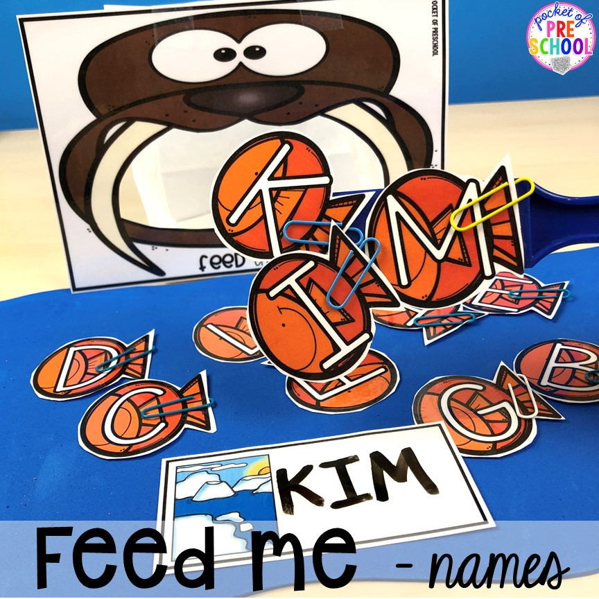 Fee me walrus name activities! Polar animal themed activities and centers for preschool, pre-k, and kindergarten. #polaranimals #polaranimaltheme #preschool #prek
